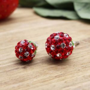 13 en 14 Ohrstecker Kugel Erdbeere Paar