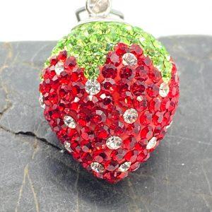 EB0304-03435-18 Anhänger 925 Silber mit Kristallsteinen, Erdbeere