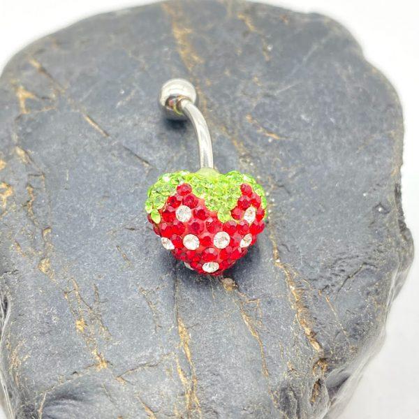 Piercing 925 Silber Herz mit Kristallsteinen, Erdbeere