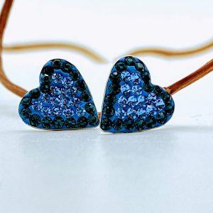 Ohrstecker 925 Silber Kristall groß Herz Rahmen blau
